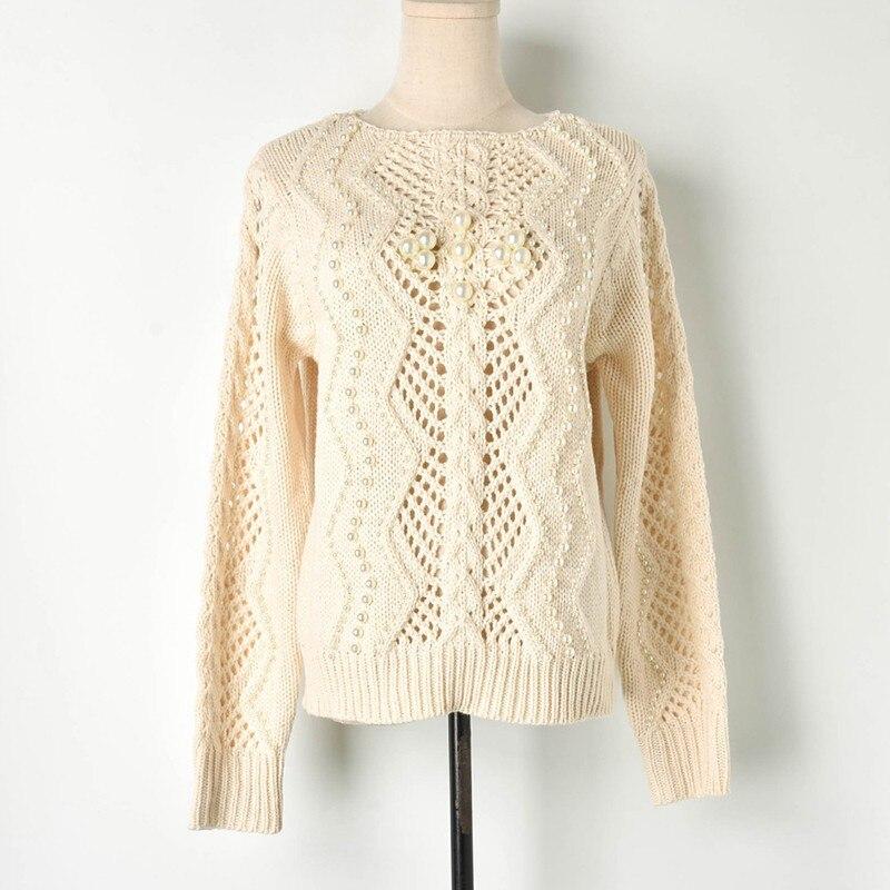 Style 2019 Décontracté Femmes Dames Hauts Pulls Printemps Crochet Creux Perles Mode Tricotés Apricot Et Élégante Chandails De Tricots B6wWq5EfZ