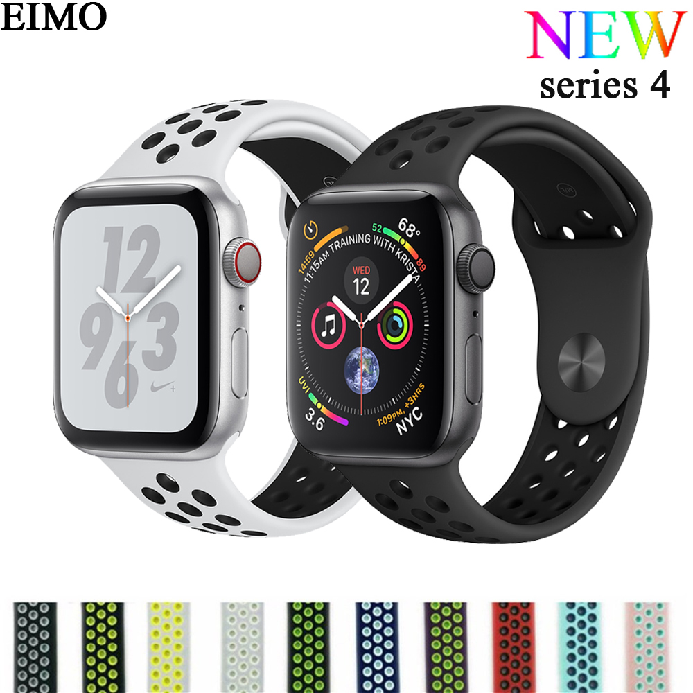 new products uk cheap sale performance sportswear EIMO Silicone Strap for Apple Watch 4 44mm 40mm Nike Sport Band correa  iwatch Series 4 3 2 1 pulseiras Wrist Bracelet Watchband - Relogios Jóias e  ...