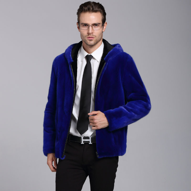 Blue Mens Faux Fox Fur Overcoat Hooded jacket Thicken Warm winter fur Jackets Mens detachable sleeve Fur coat