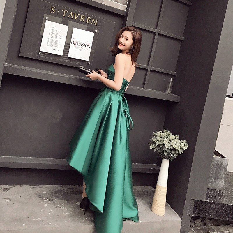 New Arrival Taffeta Asymmetrical Emerald Green Cocktail Dresses Sweetheart Sleeveless Robe De Cocktail Mi Longue 0103B 4