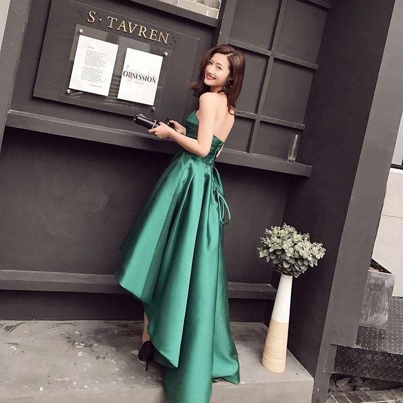 Asymmetrical Emerald Green Cocktail Dress