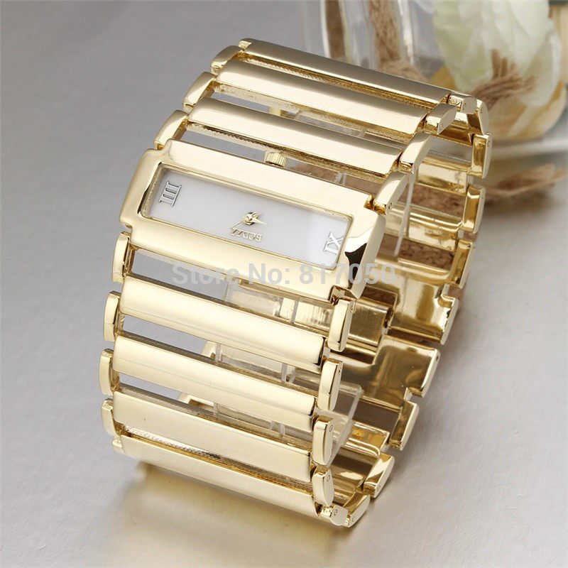 New fashion dress quartz classic ladies watches golden big rectangle case broad steel women chain strap bracelet wristwatch gift stylish golden hollow rounded rectangle hasp bracelet for women