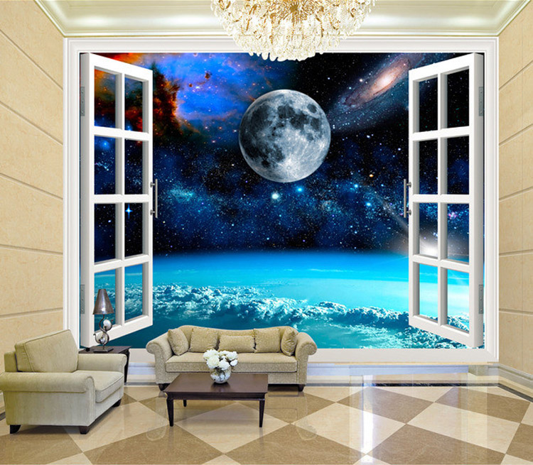 Charming Galaxy Wallpaper Personalized Custom 3D Wall Murals Moon Photo  Wallpaper Boys Kids Bedroom Living Room Art Room Decor In Wallpapers From  Home ...
