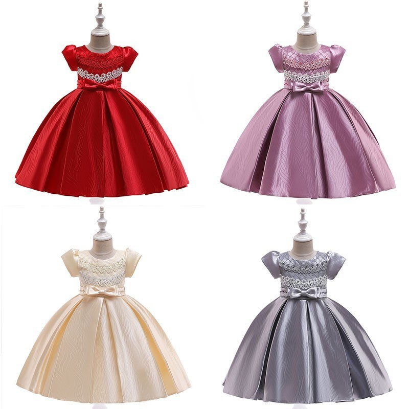 Gorgeous   Flower     Girl     Dresses   2019 Ball Gown O-Neck Short Sleeve Bow Beaded Satin First Communion   Dresses   For   Girls   Bloemen Jurk