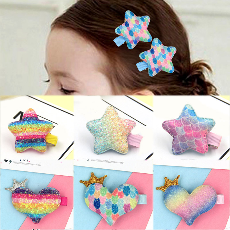 2019 New Arrival Colorful 1Pair Allergy Free Handmade Gold Dust Star Girls Unique Paillette Exquesite Heart Hair Clip Headwear