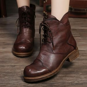 Women Leather Martin Boots Low