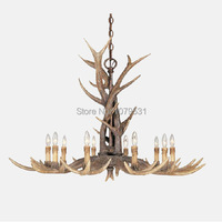 Europe Country 10 Heads Chandelier American Retro Lamps Fixture Resin Deer Horn Antler Lampshade Decoration E14
