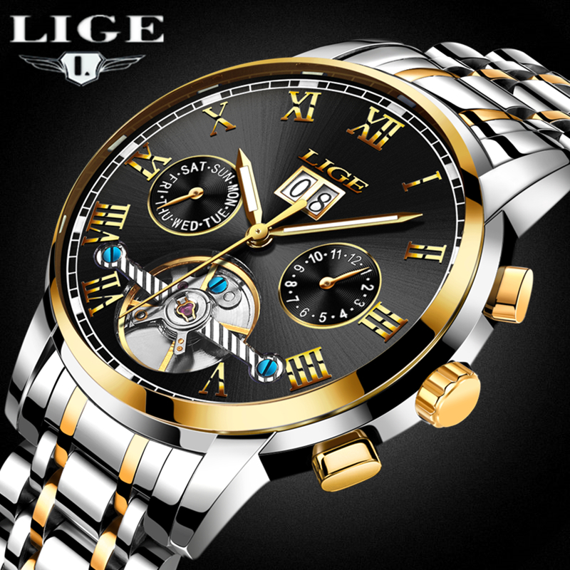 LIGE Men Watch Men Automatic Mechanical Wristwatch Brand Stainless Steel Waterproof Male Clock Calendar Relogio Masculino Box 27 fashion top brand watch men automatic mechanical wristwatch stainless steel waterproof luminous male clock relogio masculino 46