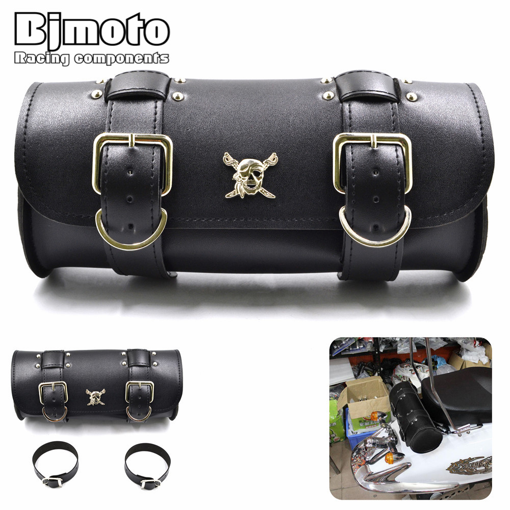 BJMOTO New Motorcycle Leather PU Front Fork Tool Bag Luggage Saddlebag For Harley Chopper Bobber Cruiser image