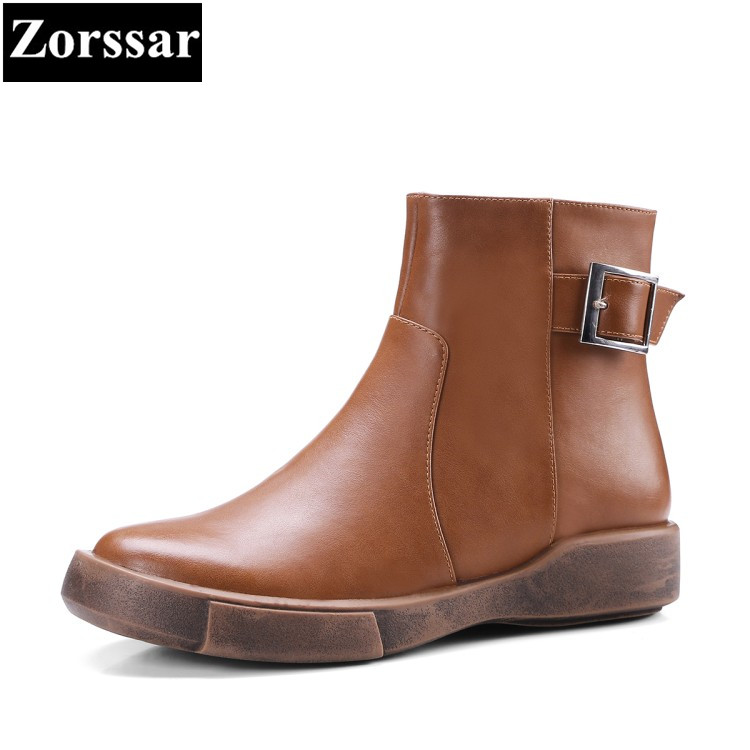 {Zorssar} 2018 NEW Fashion Retro Genuine leather flat heel short Boots Casual lace up women ankle boots winter women flats shoes zorssar 2018 woman fashion genuine leather ankle martin boots female slip on flat heel casual short shoes spring autumn shoes