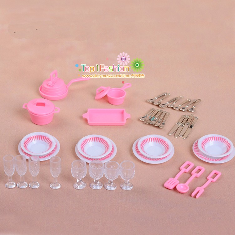 Mininature Simulation tableware BJD dolls Kitchen pots and pans dishes glasses cutlery for barbie doll