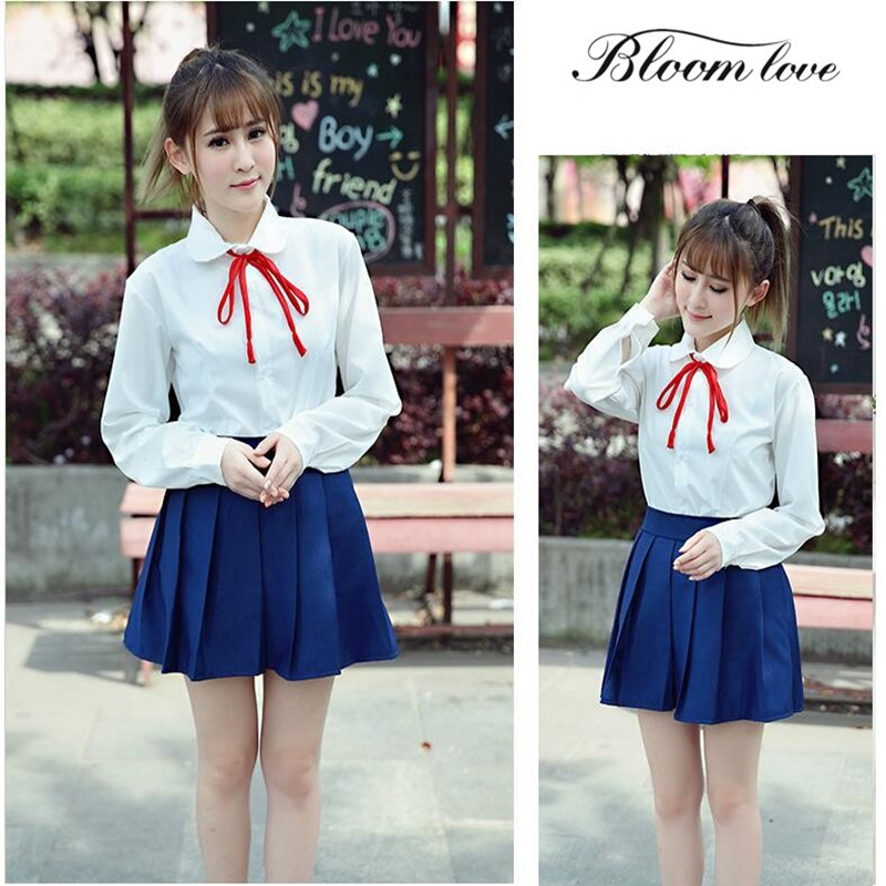 White Shirt+Pleated Dress Girls school uniforms Japanese High School Uniform Sailor Lolita Cosplay Costume Fancy Dress C25 Юбка