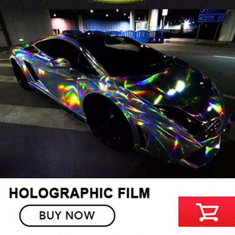 1.52*20 m/Lot Argent Laser voiture wrap film holographique Arc-En-Ciel Autocollant voiture film noir chrome argenté vinyle style Classique