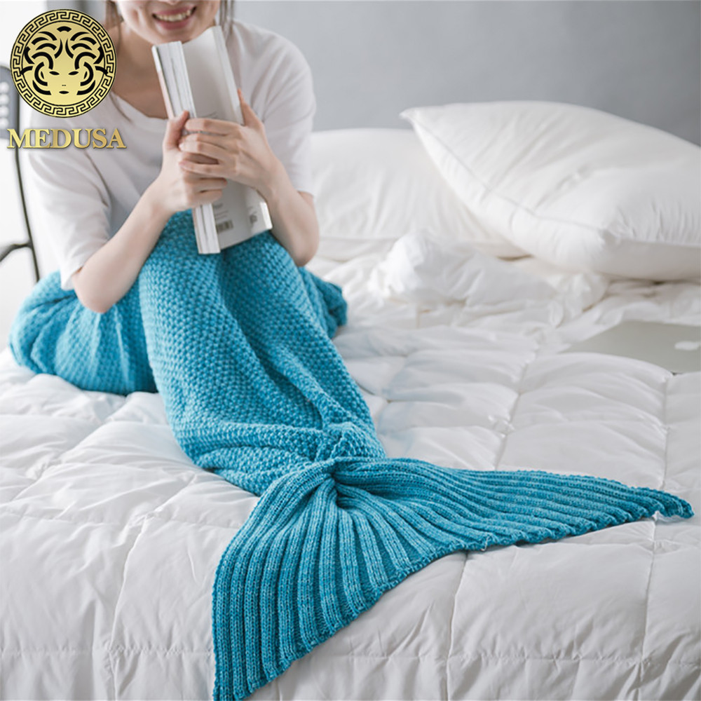 Wholesale Acrylic Wearable Mermaid Blanket Throws 70x140cm 90x190cm turquoise violet aqua burgundy hot pink rose