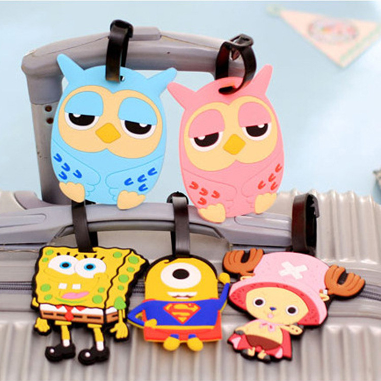 eTya Cartoon  travel accessories Luggage Tag Silicone Women Men Fashion Travel Backpack Suitcase Baggage Boarding Tags  Label