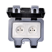 IP66 European Standard Waterproof Dual Power Socket Outlet Outdoor 16A 250V Wall Dust-proof Electrical
