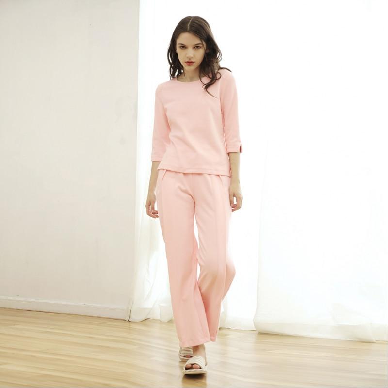 53717cc465 2018 Spring Brand homewear Women Casual pajama sets Ladies half sleeve shirt  + loosen pants Female soft Cotton sleeapwear suit-in Pajama Sets from  Underwear ...