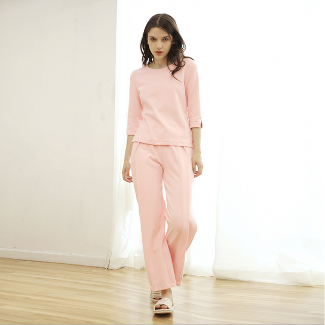 c603e6b079 2018 Spring Brand homewear Women Casual pajama sets Ladies half sleeve shirt  + loosen pants Female soft Cotton sleeapwear suit