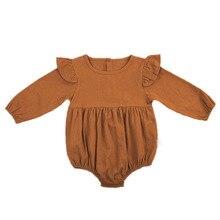 Милый комбинезон для новорожденных девочек; осень г.; Однотонный комбинезон с длинными рукавами и оборками для малышей; цельнокроеная одежда; От 3 месяцев до 3 лет
