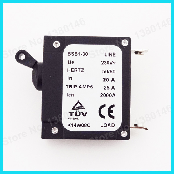 230V 20 AMP 20A Generator Circuit Breaker 25 Trip Amps Hertz 50/60 ...