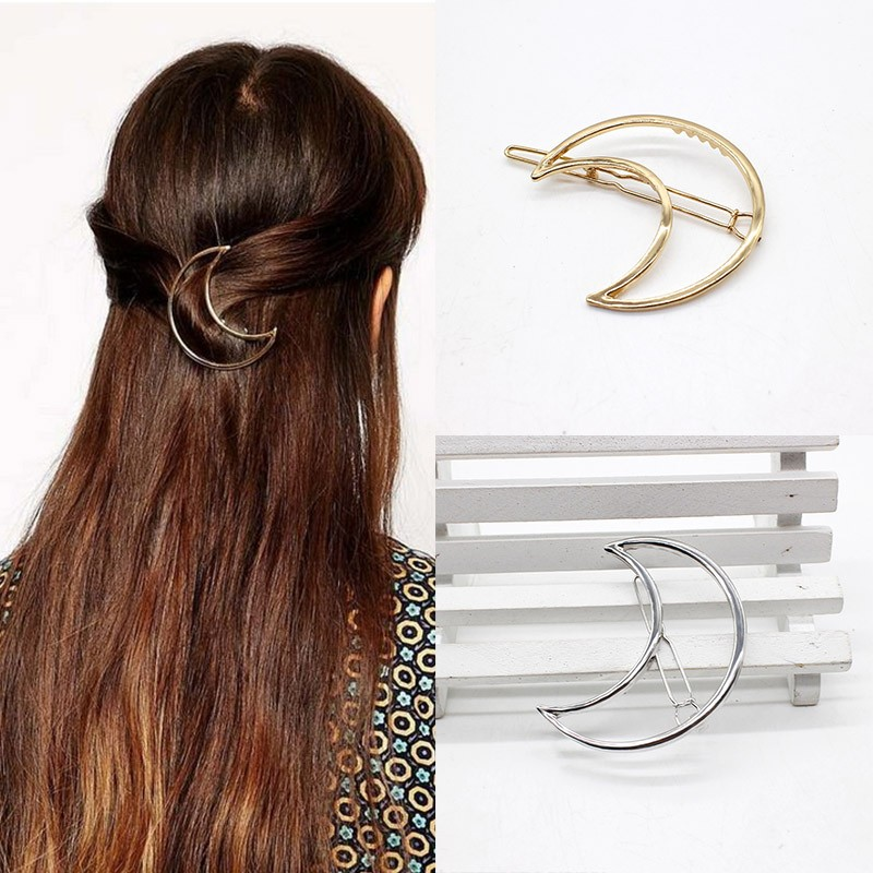 NEW Fashion Hairpins Round triangle Moon Hair pins Metal head jewelry for Women Lady Barrette Clip Hair Accessories Girls Holder 2