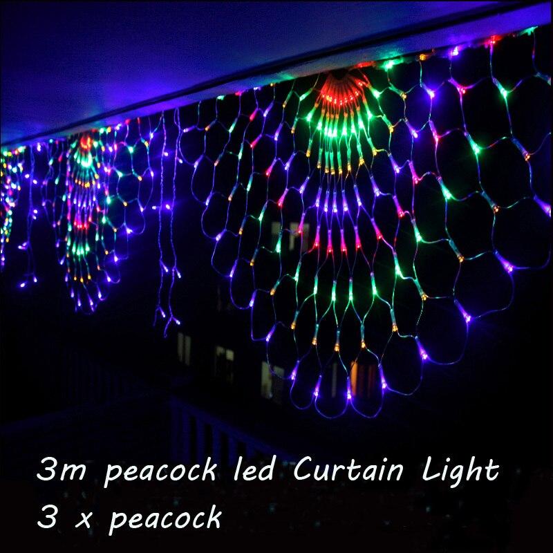 М 3 м RGB 3 павлины светодио дный светодиодный открытый светодио дный закрытый светодиодный фея струнный занавес свет Рождество Рождественск...