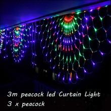 3 m rgb 3 pavões led ao ar livre indoor led fada string cortina de luz natal festa casamento celebração pátio decoração 110 v 220 v