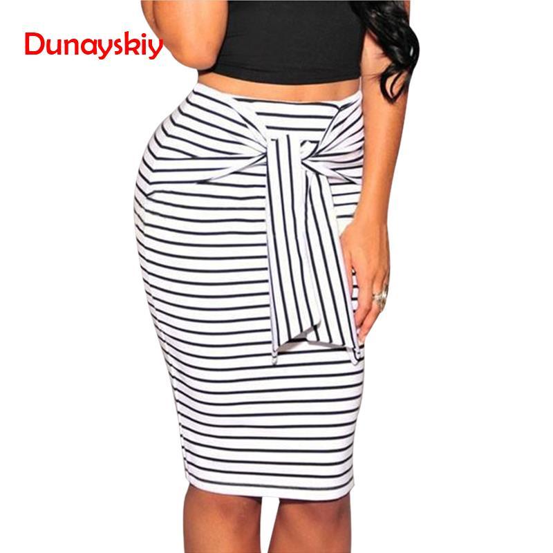 908a27832 Verano Sexy ajustado Bodycon mujeres señora lápiz faldas rayadas falda  femenina hasta la rodilla ...