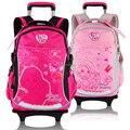 Barbie niños trolley / ruedas de la escuela primaria / estudiante / libros mochila / mochila para las niñas grado / clase 1-4