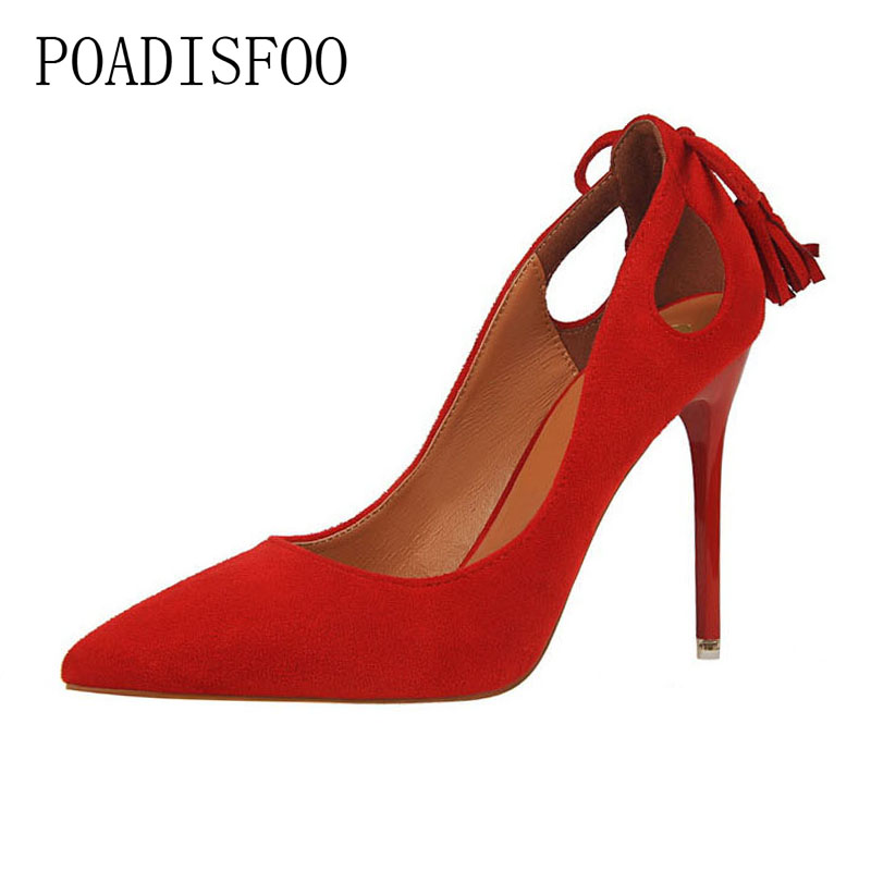 POADISFOO 2018 women pumps High Heel Shallow Mouth Pointed Suede Hollow Butterfly Knot Tassel Shoes .PSDS-3168-9 poadisfoo women elegant crystal pumps sexy thin shoes super high suede shallow mouth pointed rhinestone single shoe ds 1717 5