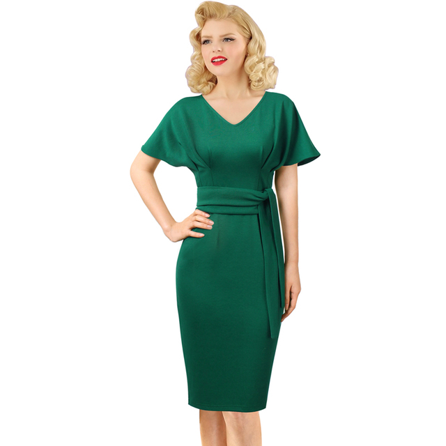 95fb9465c78 Vfemage Women V Neck Butterfly Kimono Sleeve Pleated Belted Work Business  Cocktail Party Stretch Bodycon Pencil