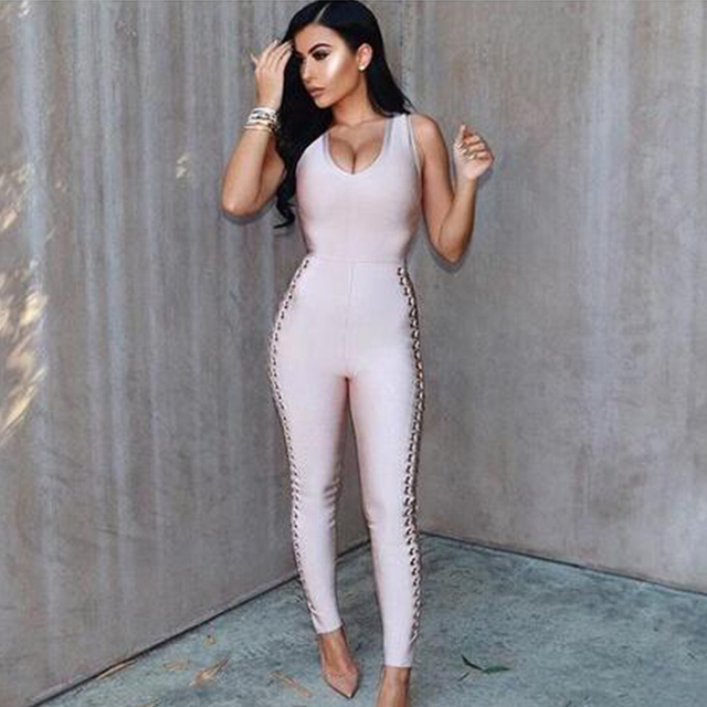 Celebrity Runway Party Jumpsuits For Women Black Sleeveless Hollow Out Rompers Jumpsuit Sexy Bodycon Bodysuit 2