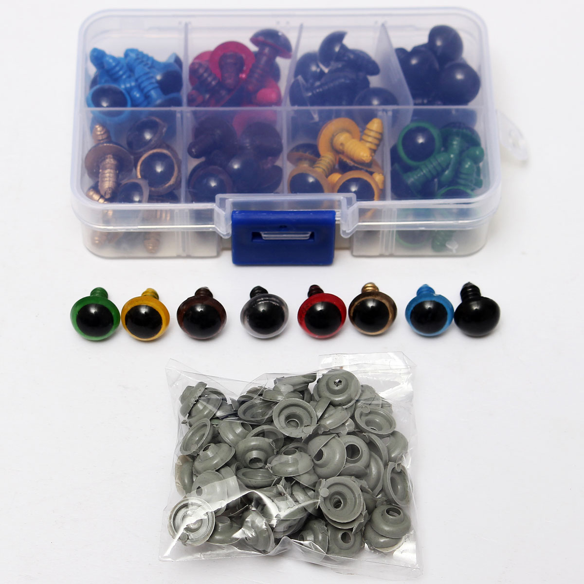 80Pairs 12mm 8 Colors-Mix Plastic Safety Eyes Box for Teddy Bear Stuffed Toy Snap Animal Puppet Doll Craft DIY