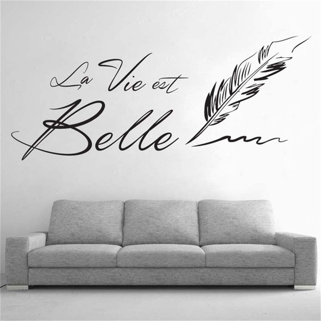 letters  quot la vie est belle quot  wall stickers creative french wall sticker art for living room wall stickers for living room at next shops