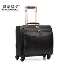 Первый слой из воловьей кожи кожаный чехол Натуральная кожа тележки для багажа сумка дорожная сумка 16 20 камера, высокое качество красный тележка Luggag