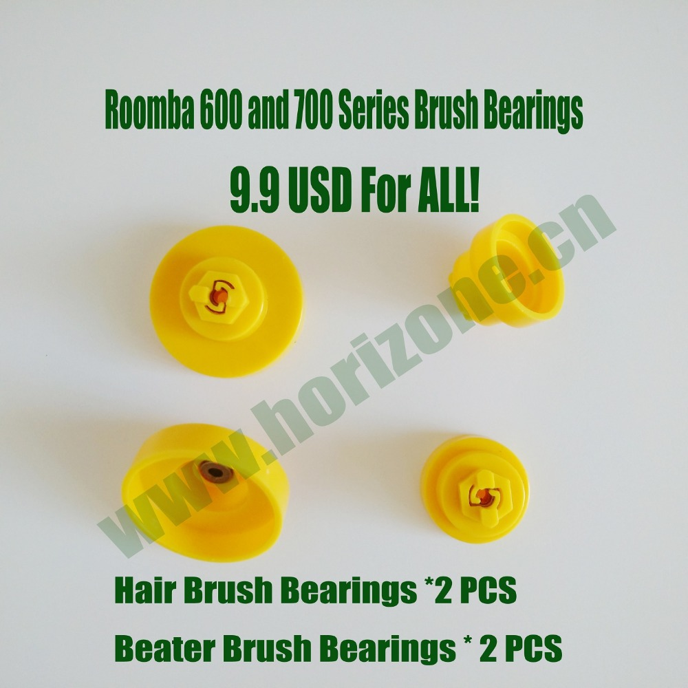 2 Pairs of Brush Bearings for iRobot Roomba 600 770 780 790 series Robotic Vacuum Cleaner bristle brush flexible beater brush fit for irobot roomba 500 600 700 series 550 650 660 760 770 780 790 vacuum cleaner parts