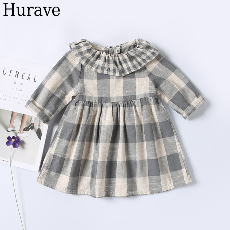 Hurave Autumn Leisure girls baby clothes Plaid cotton yarn Children dress cute girl clothes hurave 2018 summer clothing sleeveless baby girl clothes children dress plaid cotton kids clothes casual drawstring dresses