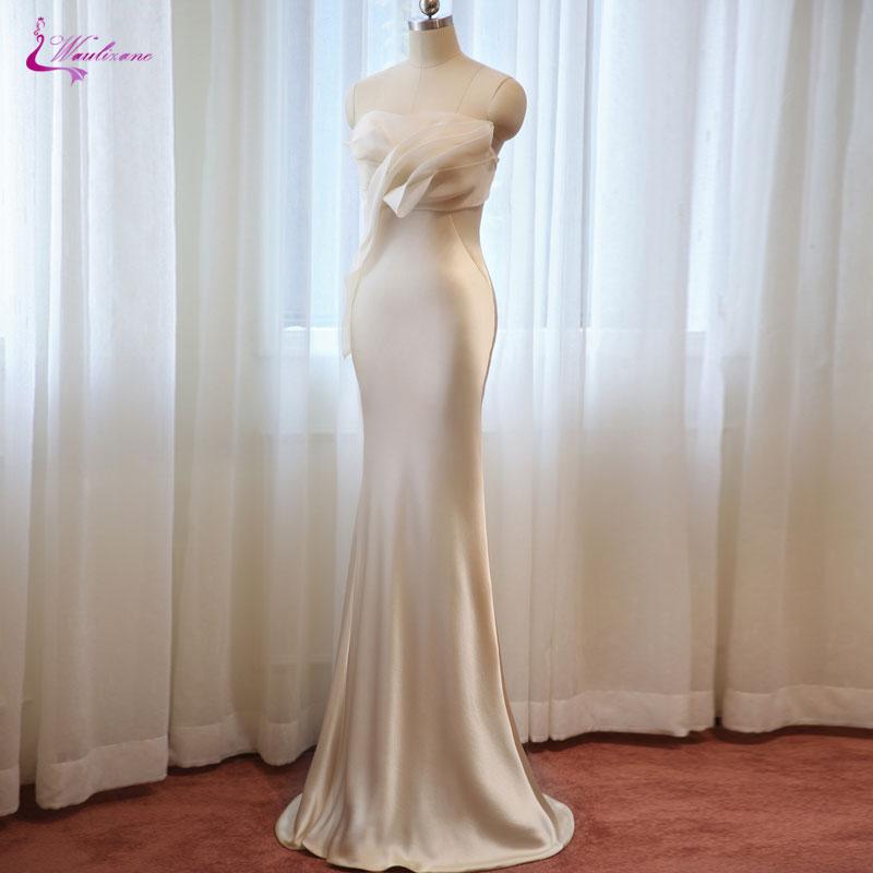 Waulizane Lustrous Satin Strapless Evening Dresses Simple Style Off The Shoulder Sleeveless Elegant Mermaid Prom Dresses