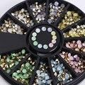 1 caja de colores sharp inferior rhinestone 3d decoración de uñas 2.5mm opal decoración en rueda de manicura de uñas decoración del arte