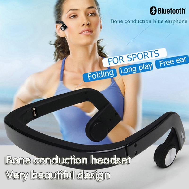 Гарнитура костной проводимости Беспроводной Bluetooth Спорт на открытом воздухе бас наушников для с микрофоном высокого качества Роскошные мо...