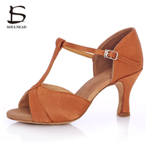 2017 New Style Adult Women Latin Tango Salsa Dance Shoes Soft Sole High Heel Girl Professional Indoor Dancing Shoes Brown Color