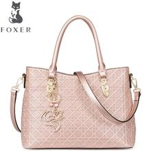 FOXER2016 new luxury fashion Superior Cowhide Leather handbag brand-name products 100% high-quality women well-known