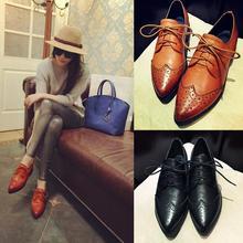 Top Qualität 2016 Fashion Solid Brogue Schuhe Frau Partei Spitzschuh Wohnungen Schuhe Atmungs Echtem Leder Oxfords