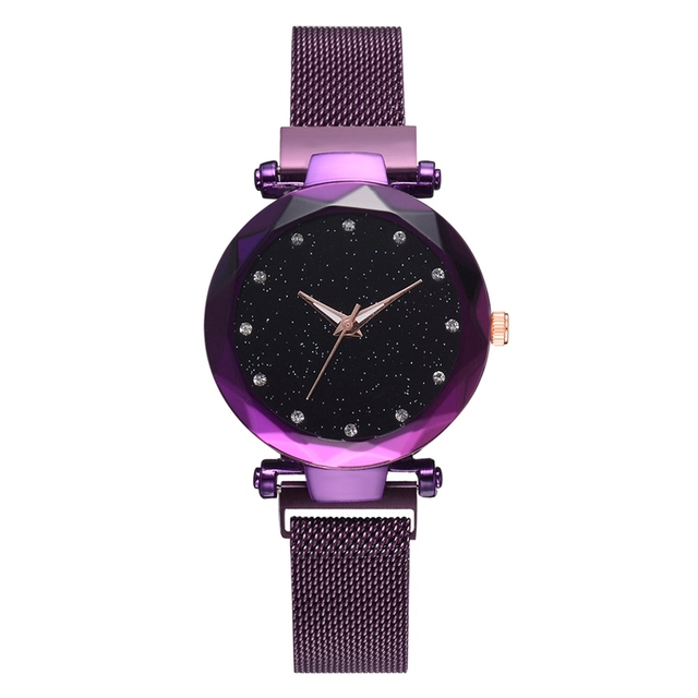 Top Brand Watches For Women Rose Gold Mesh Magnet Buckle Starry Quartz Watch Geo