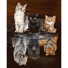 Cat and Tiger diamond Embroidery diy painting mosaic diamant 3d cross stitch pictures H476
