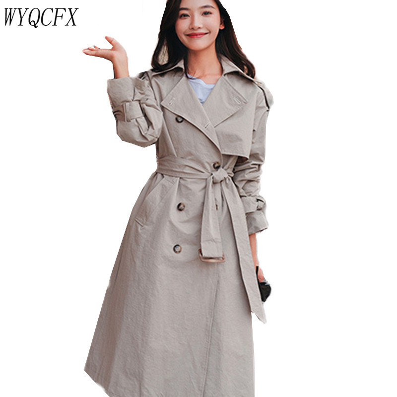 Le Manteau Tempérament Pardessus Tranchée Manches Coupe À Femelle Chic Coréenne Femmes Bandage Longues De Sac Manteaux Khaki Automne Printemps vent Dos qZp7UU