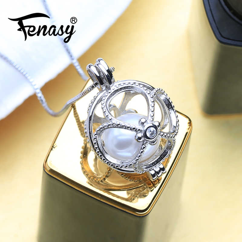 FENASY Pearl Pendant Necklace For Women Natural Freshwater Pearl Pendants necklaces Fashion Causal Round Cage Pendant