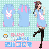 STOCK Game OW D VA Rabbit Hoodie Dress Summer Cotton T Shirt Dress M L