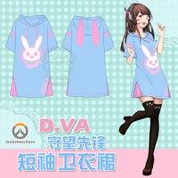 STOCK Game OW D VA Rabbit Hoodie Dress Summer Cotton T Shirt Dress M L