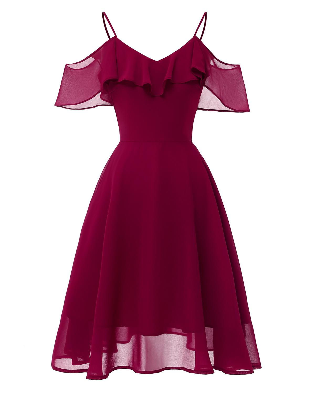Sexy Off-shoulder Cocktail Dresses Chiffon Spaghetti Straps Burgundy Navy Pink Robe Party 2019 Short Vestidos Homecoming Dress